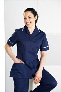 RIZUES R8 WHITE//NAVY MEDICAL//DENTAL//CLINIC LADIES HEALTHCARE TUNIC